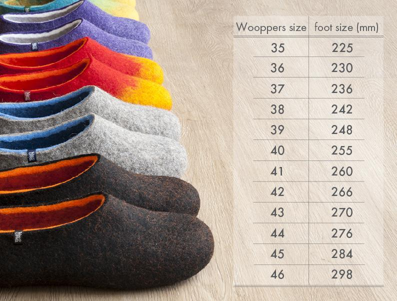 Wooppers size chart - How your measurement corresponds to the Wooppers slippers size