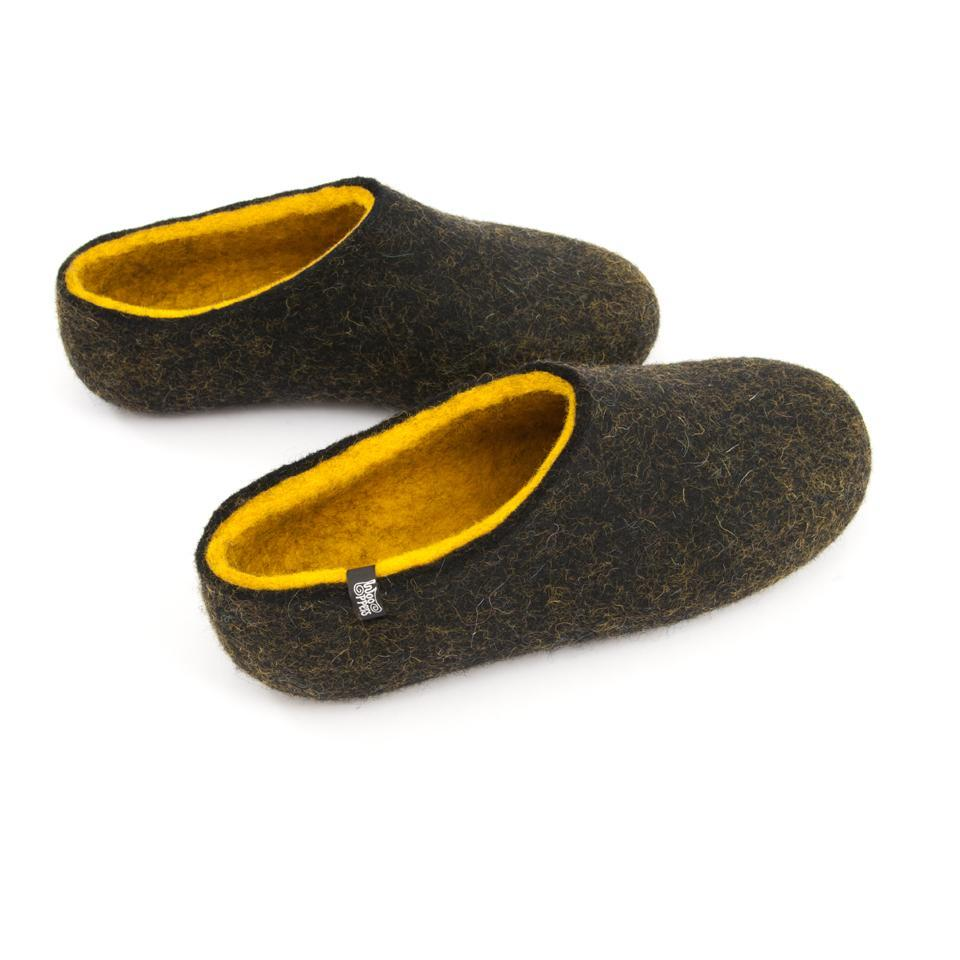 Black house shoes, DUAL BLACK yellow, for men by Wooppers -b