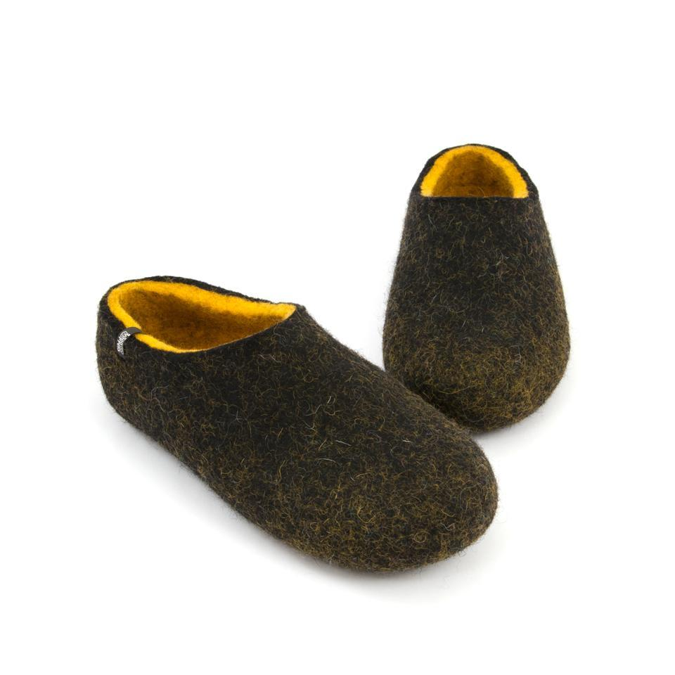 Black house shoes, DUAL BLACK yellow, for men by Wooppers -d