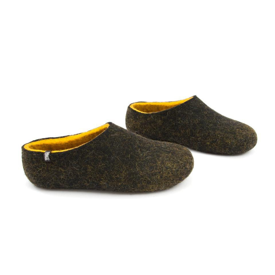 Black house shoes, DUAL BLACK yellow, for men by Wooppers -e