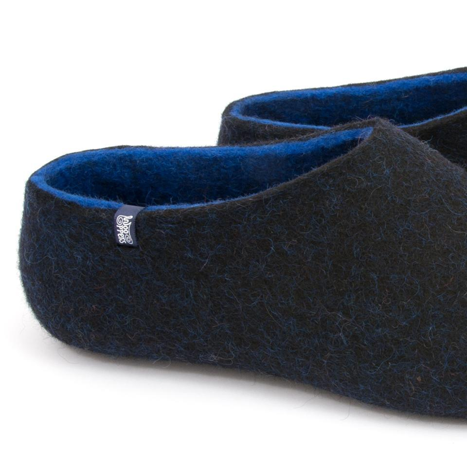 Gents slippers, DUAL BLACK blue by Wooppers -cd