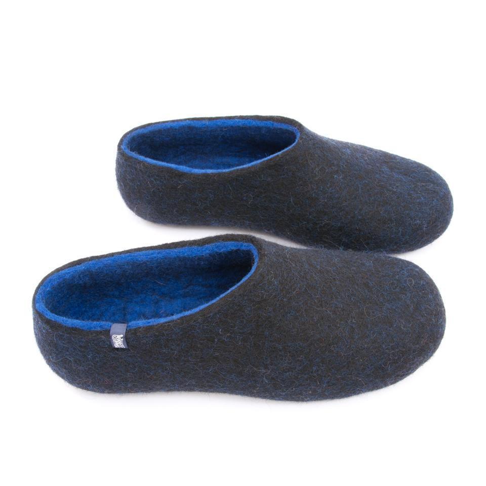 Gents slippers, DUAL BLACK blue by Wooppers -e