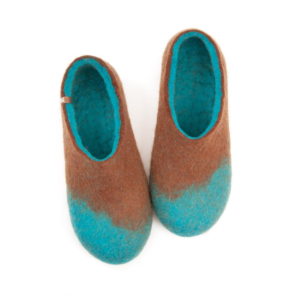 Felt slippers AMIGOS turquoise brown