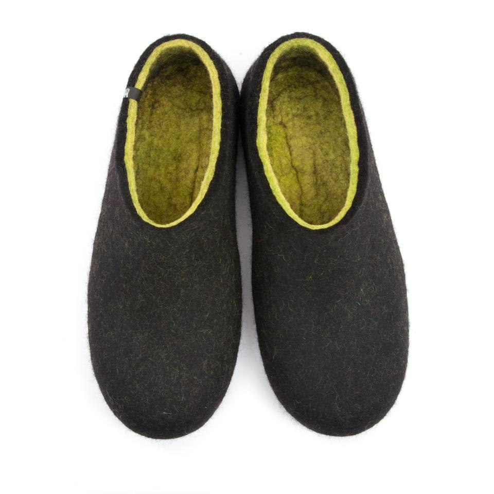 0bae77c07a4e4 FELT House shoes DUAL BLACK lime green