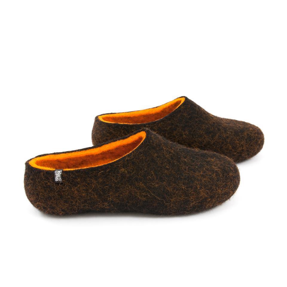 Black winter slippers, DUAL Black orange by Wooppers -b