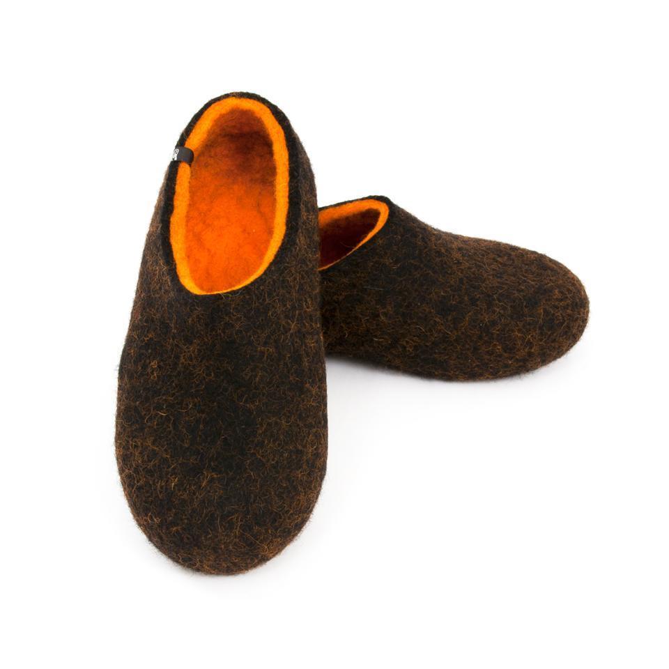 Black winter slippers, DUAL Black orange by Wooppers -c