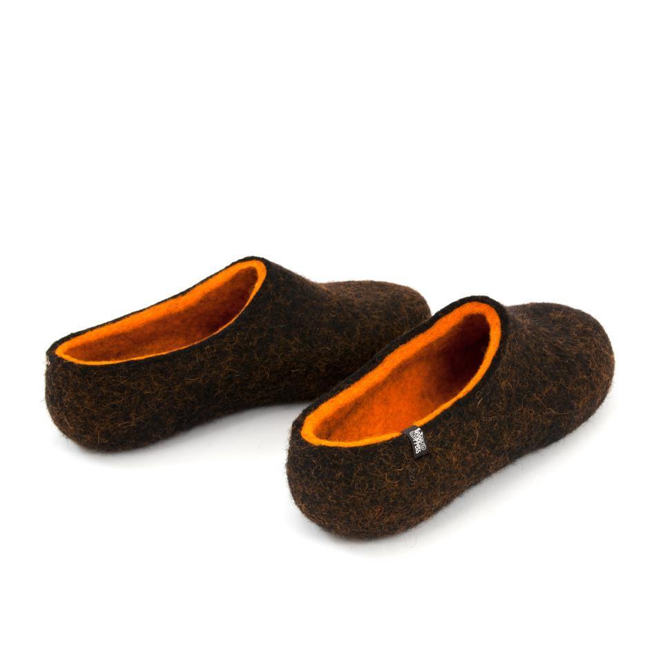 Black winter slippers, DUAL Black orange by Wooppers -e