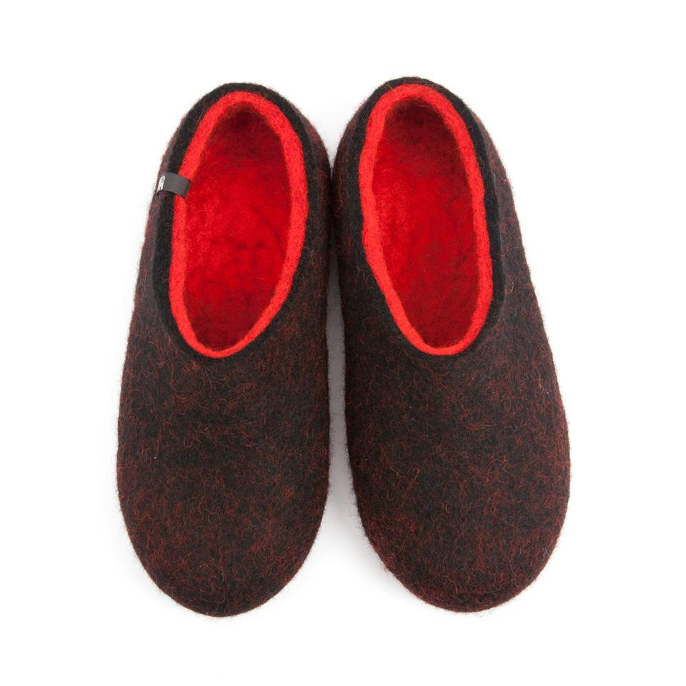 Women's house slippers DUAL Black red by Wooppers -a