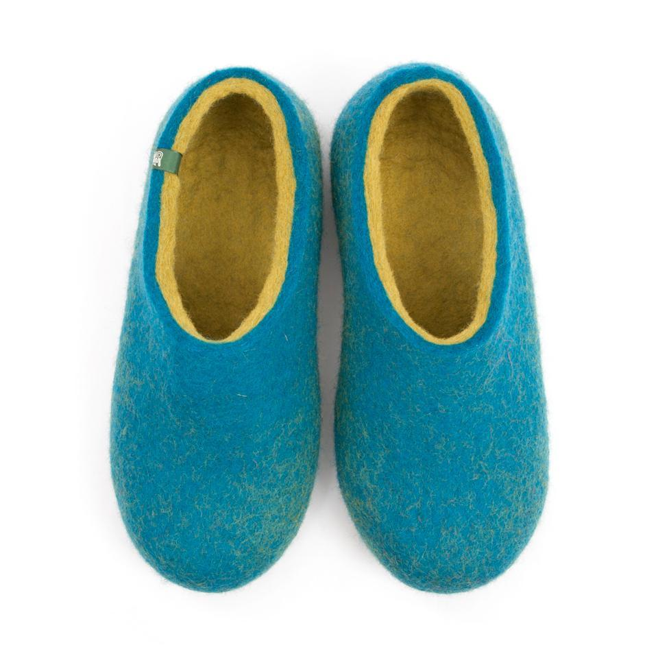 Wool slippers DUAL BLUE azure lime