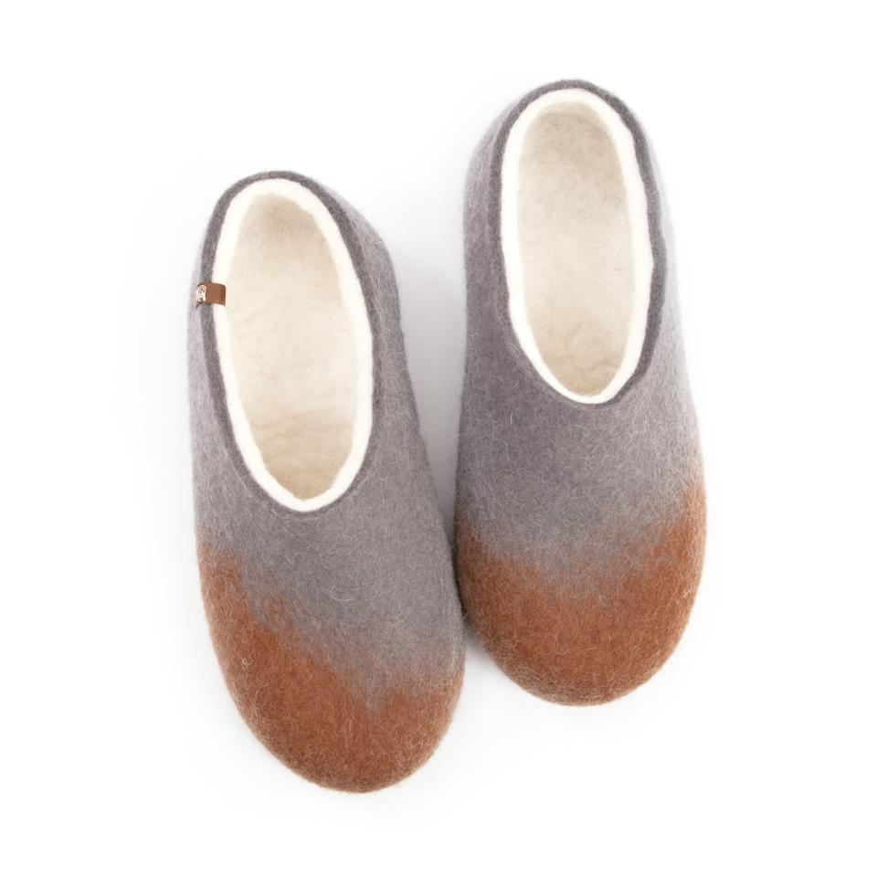Felt slippers AMIGOS brown grey white