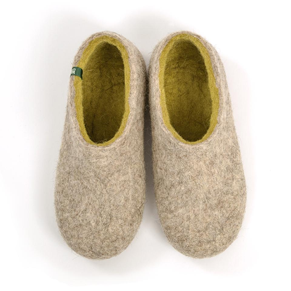Ethical slippers DUAL NATURAL gray lime