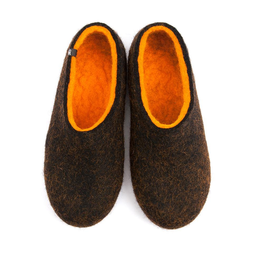 House shoes for men, DUAL BLACK orange, by Wooppers -a