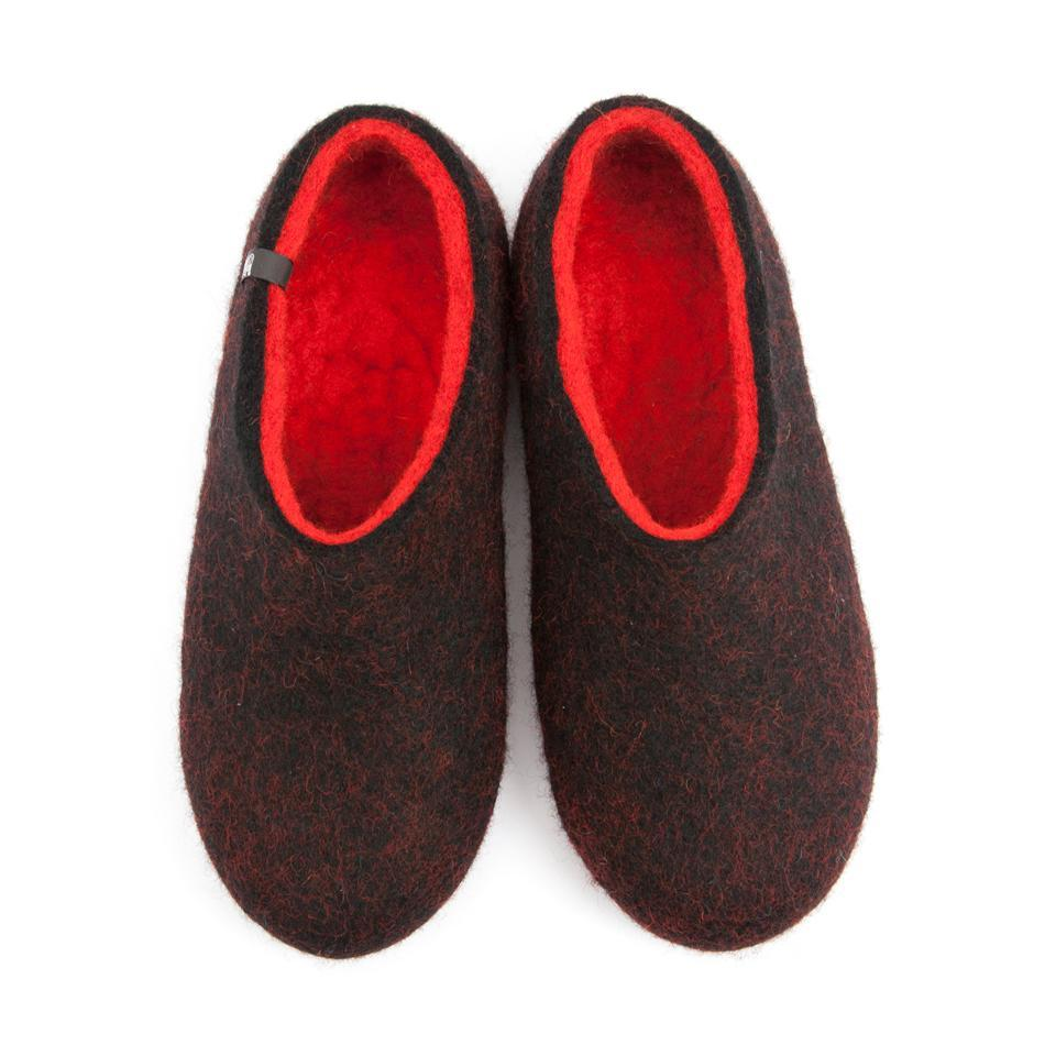 FELT House shoes DUAL BLACK red