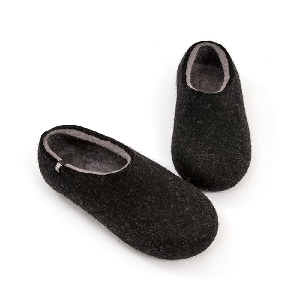 Men's black slippers, DUAL BLACK grey, by Wooppers -d
