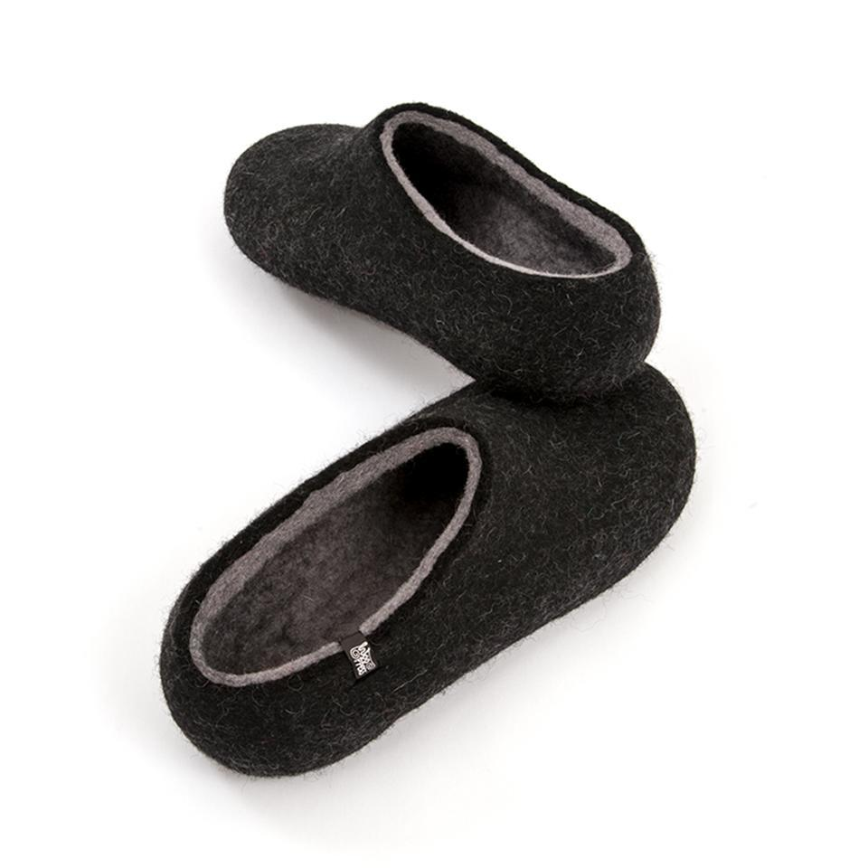 Men's black slippers, DUAL BLACK grey, by Wooppers -e