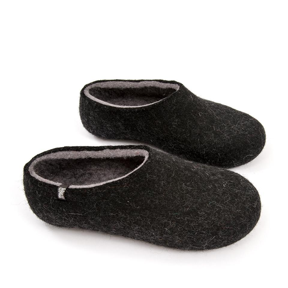 Men's black slippers, DUAL BLACK grey, by Wooppers -f