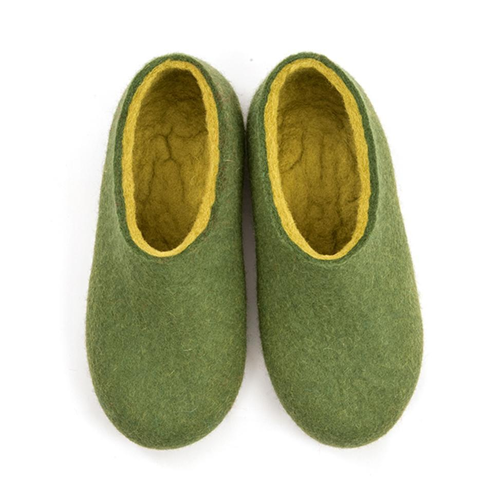 Felted slippers DUAL OLIVE GREEN lime
