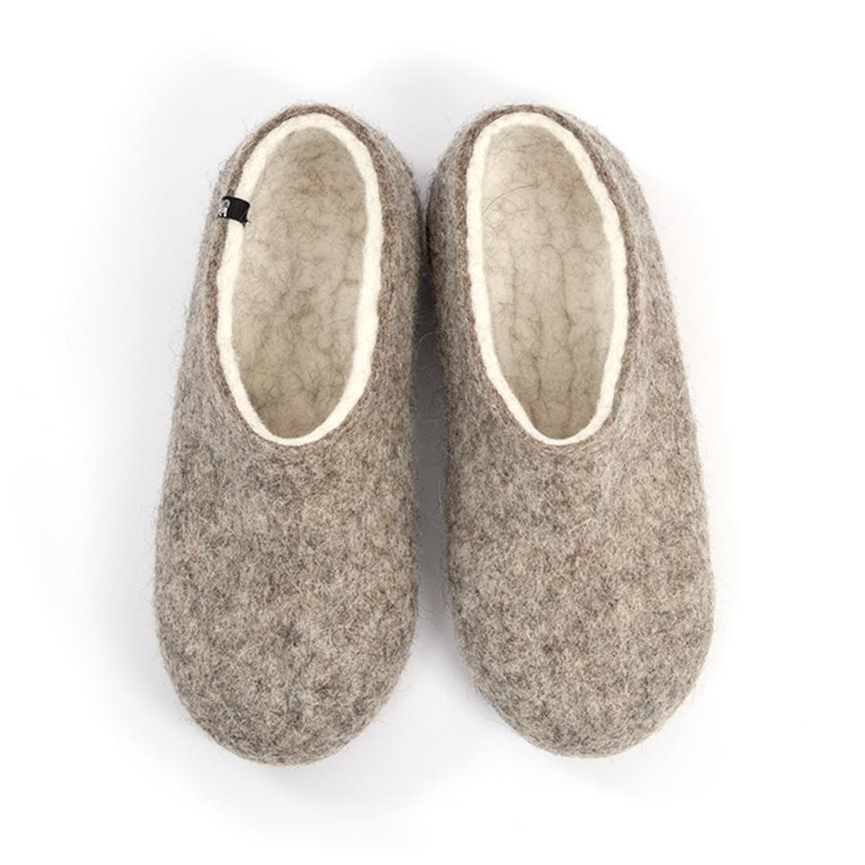 Mens felt clogs DUAL NATURAL white