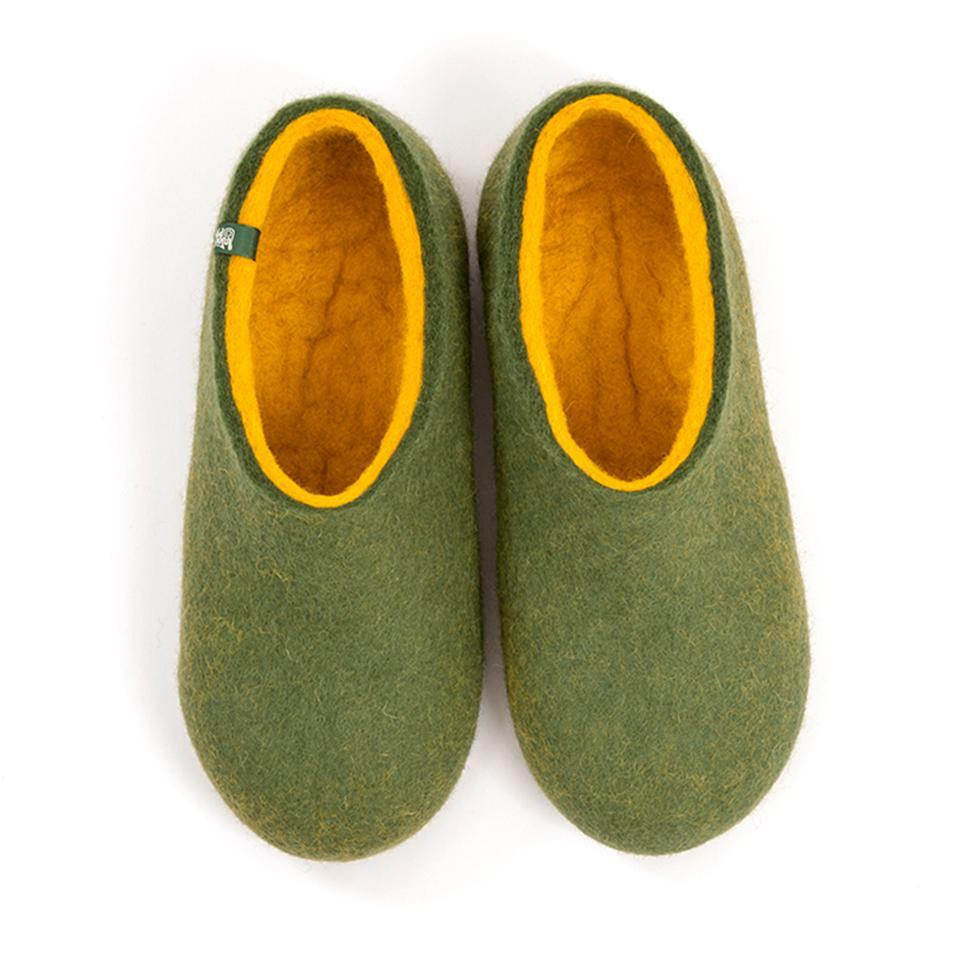 Felted slippers DUAL OLIVE GREEN yellow