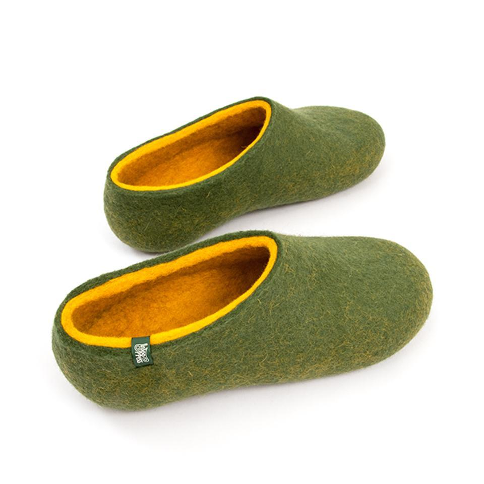 mens merino slippers olive green yellow by wooppers