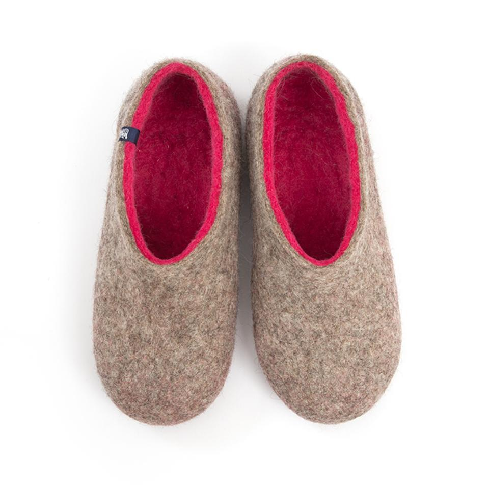Felted slippers DUAL NATURAL gray fuchsia