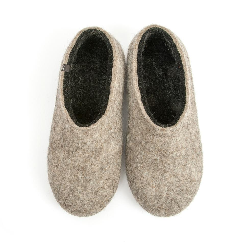 Gray wool slippers DUAL NATURAL black