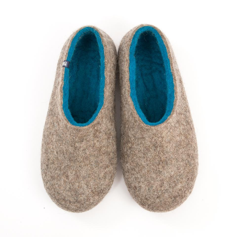 Woolen felt slippers DUAL NATURAL azure blue