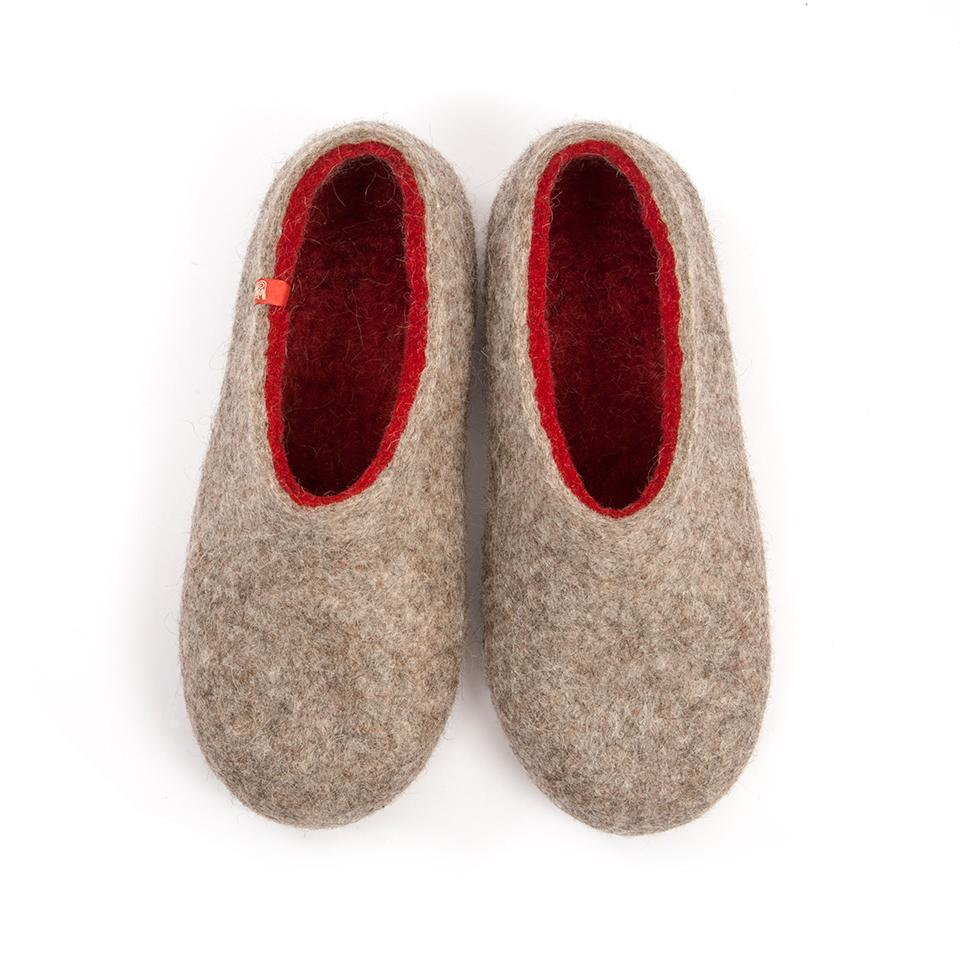 Felt slippers DUAL NATURAL gray crimson