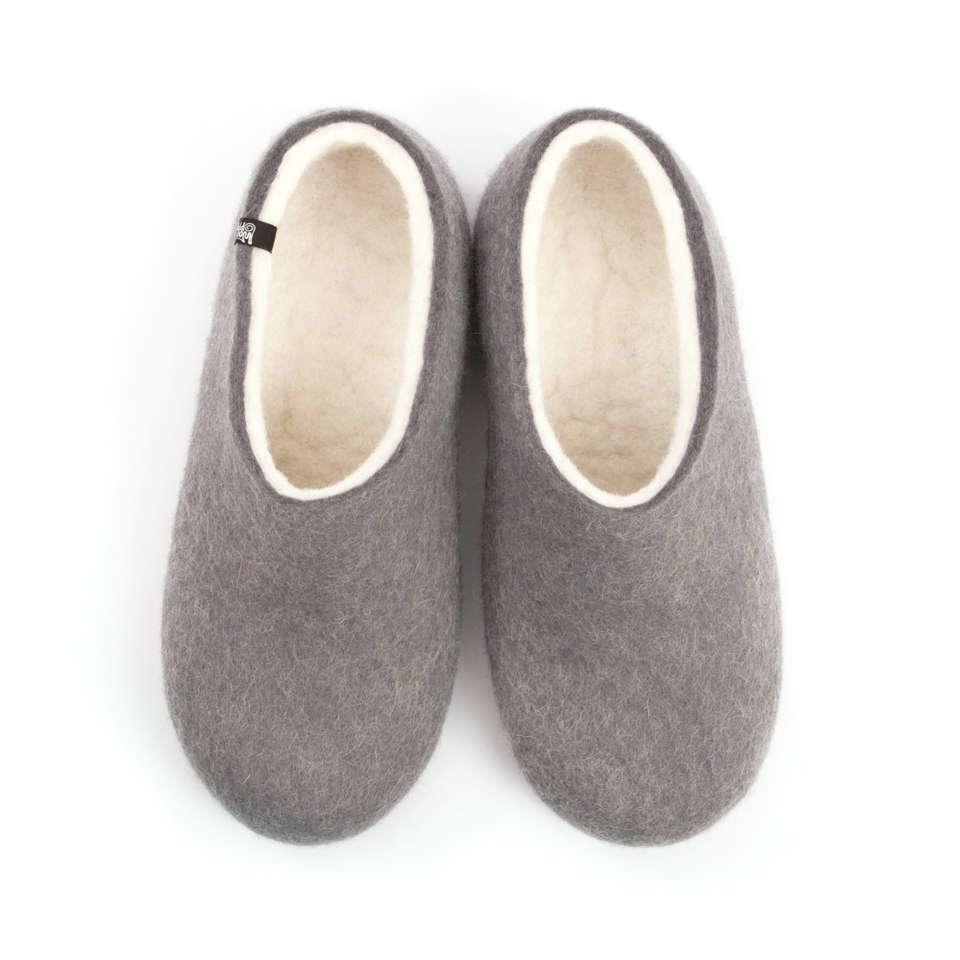 Felted men's slippers BLISS grey