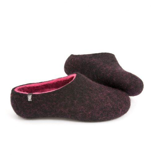 Soft slippers, DUAL Black fuchsia by Wooppers -b