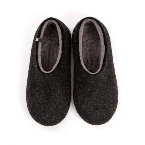 Black slippers, DUAL Black grey by Wooppers -a
