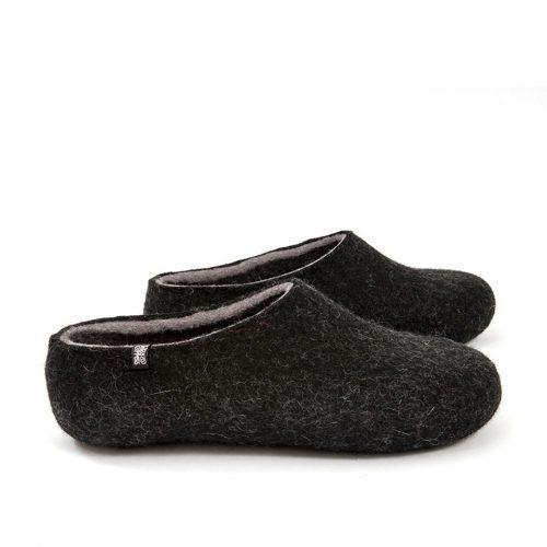 Black slippers, DUAL Black grey by Wooppers -b