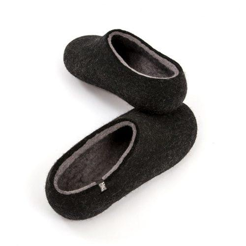 Black slippers, DUAL Black grey by Wooppers -e