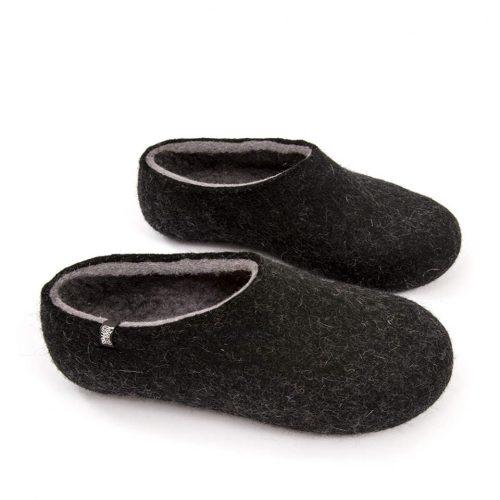 Black slippers, DUAL Black grey by Wooppers -f