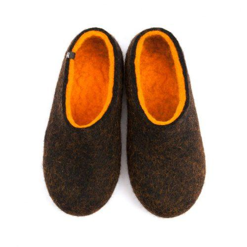 Black winter slippers, DUAL Black orange by Wooppers -a