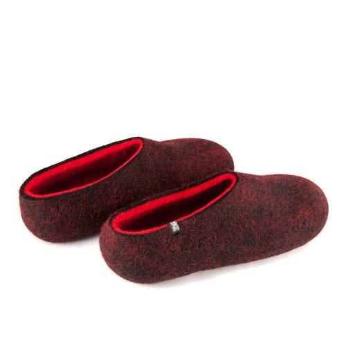Women's house slippers DUAL Black red by Wooppers -a.