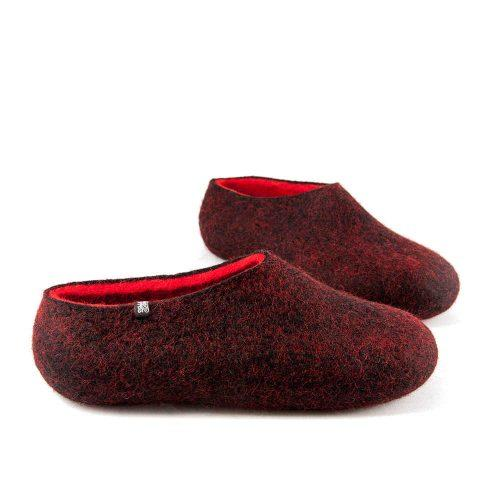 Women's house slippers DUAL Black red by Wooppers -b