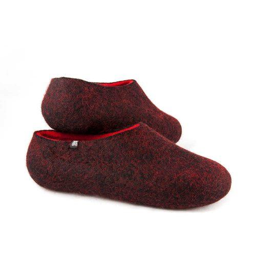 Women's house slippers DUAL Black red by Wooppers -c