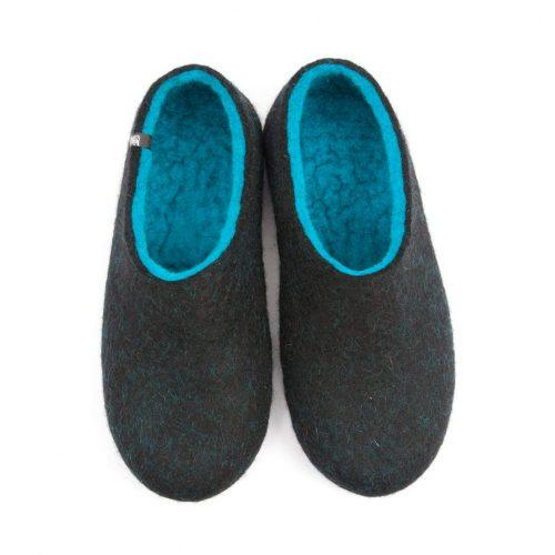 Comfortable slippers DUAL Black turquoise by Wooppers -a