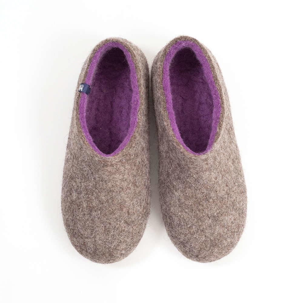 Ladies winter slippers DUAL NATURAL gray lilac