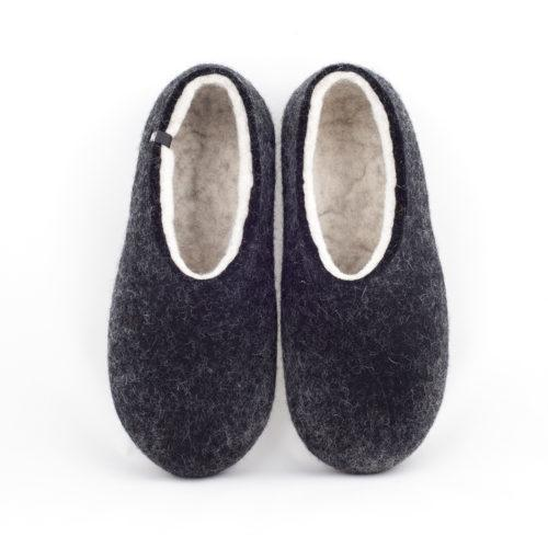 Black white slippers DUAL Black collection by Wooppers -a