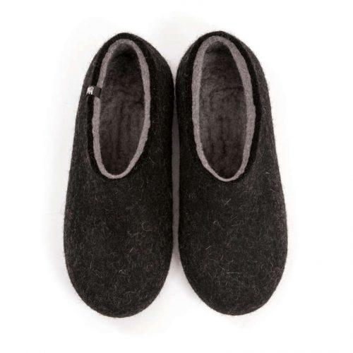 Men's black slippers, DUAL BLACK grey, by Wooppers -a