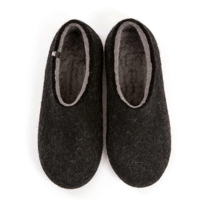 6b4c34aab854a FELT House shoes DUAL BLACK grey