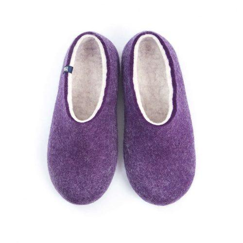 Purple Felt Wool Slippers by Wooppers - BLISS collection