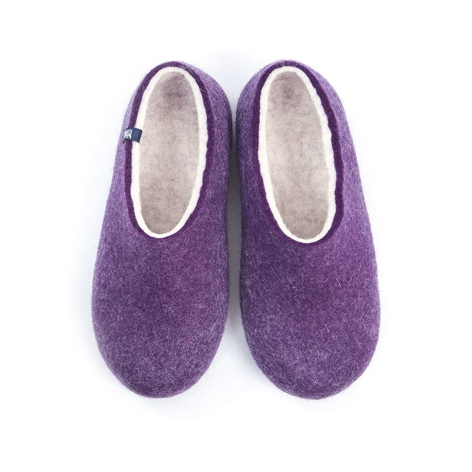 BLISS purple felt wool slippers
