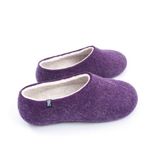 Purple Felt Wool Slippers by Wooppers - BLISS collection b