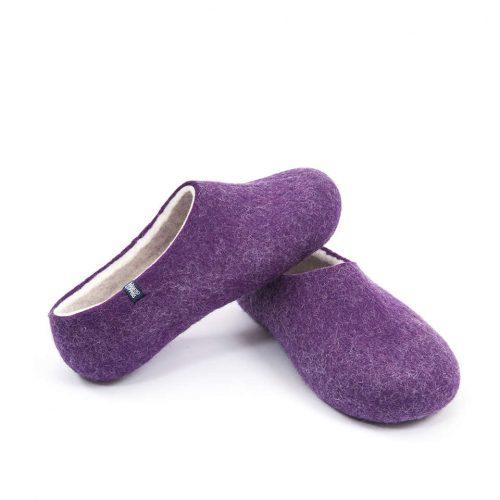 Purple Felt Wool Slippers by Wooppers - BLISS collection c