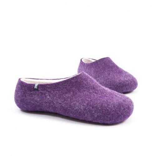 Purple Felt Wool Slippers by Wooppers - BLISS collection e