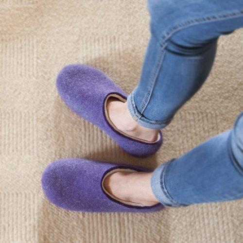 Purple Felt Wool Slippers by Wooppers - BLISS collection for ladies