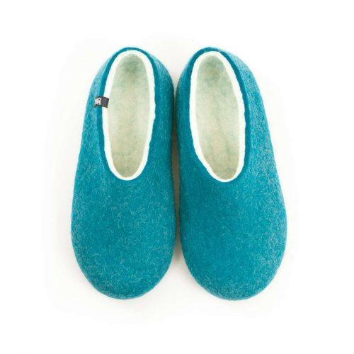 Womens felt slippers BLISS azure blue by Wooppers